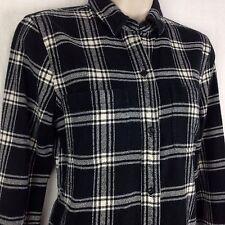 Madewell Womens XS Long Sleeve Button Tunic Shirt Black White Plaid Flannel