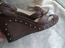 UGG  Wedge Heel Ankle Strap Studded Sandals Brown Leather Size 8,5 M