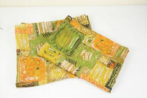Vintage Curtain Panels Set of 2 Green Yellow Orange Retro 44 x 62
