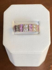 4.6g Heavy 14K White Gold 1.0 TCW Pink Sapphire & Diamond Band - Size 5
