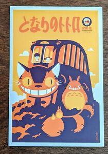 Catbus by Tom Whalen Handbill Art Postcard Print Poster Showcard Ghibli Mondo