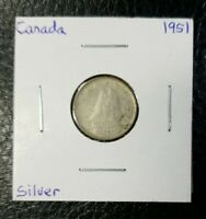 1951 Canada 10 Cents Canadian Silver World Coin! KM 43 Free shipping, nice coin!