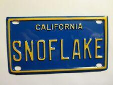 Personalized California SNOFLAKE Snow Flake Mini Bike Vanity License Plate Sign