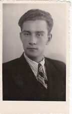 1950 RARE Handsome Young man boy in suit old Soviet Russian photo