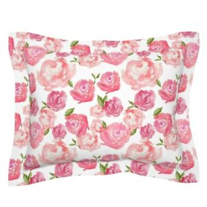Watercolor Pink Blush Rose Baby Girl Nursery Peony Pillow Sham by Roostery