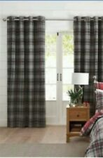 NEXT Red Grey Check Polycotton Lined Eyelet Curtains 135 Cm X 137