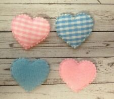 20 Blue Or Pink Gingham Fabric Hearts New Baby Card Making Craft Embellishments