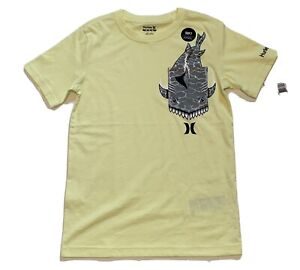 Boy's Short Sleeved Shirt Hurley Shark Luminous Green Yellow Soft Medium 10-12