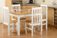 NEW STUNNING PINE OAK WHITE WOOD DINING TABLE AND 4 CHAIRS - DINING SET