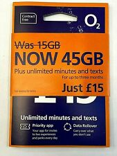 New O2 Big Bundle 45GB + UNLIMITED Calls txt Pay As You Go