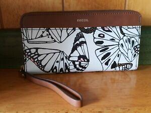 Fossil Jori RFID Zip Clutch butterfly multi SWL2224884 Purse Wallet NWT.