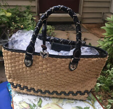 Brighton Woven Two Braided Leather Handles Purse