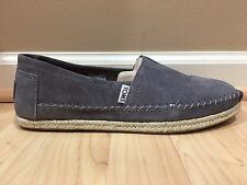 NEW MENS TOMS CLASSIC GREY SUEDE LEATHER SLIP ON SHOES 8.5 M 100% AUTHENTIC
