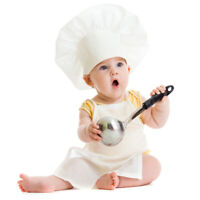 Newborn Baby Chef Costume Photography Photos Prop Hat + Apron Outfit 2pcs/set