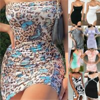 Women Summer Casual Mini Dress Ladies Holiday Party Sexy V Neck Bodycon Dresses
