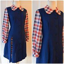 True Vintage 60s NAUTICAL DRESS Plaid Panel Long Sleeve Red White Blue Sz S