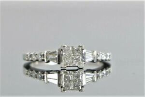 $1,850 14K White Gold Princess Baguette Round Diamond Promise Engagement Ring