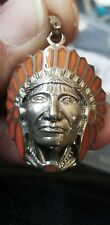 Indian Headdress. Bold, Coral Sterling Silver. 925  Pendant