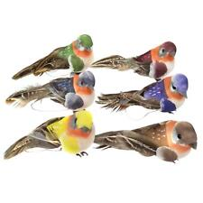 12Pcs Artificial Feather Bird Tree Decor Perched Woodland Birds Home Ornament