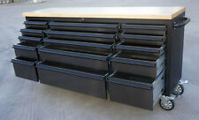 "72"" Mechanic Tool Chest Trolley Rolling Tool Box Wooden Top Workbench 15 Drawers"