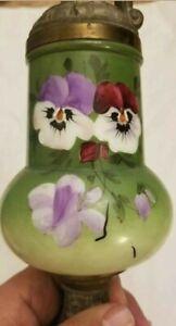 Vintage Victorian Urn Ewer Vase-Painted Violets Flowers-Faces On Base Handle