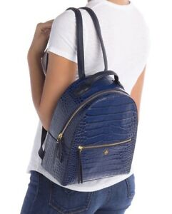Tory Burch Croc-Embossed Leather Mini Backpack Color Navy