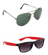 Men's Sunglasses Black Red weyfarer and Black Aviator Combo Free Shipping