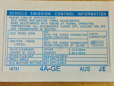 Toyota Corolla AE92 AE93 4AGE Emission & Tune Up Decal Sticker