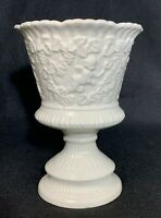 "Vintage Renaissance By Lefton 6"" Vase Urn White Ceramic Cherubs and Grapes #3562"