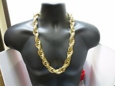Dmc Hip Hop Bling Rope Chain Necklace 20Mm 10Kt Yellow Gold Plated 28 Inch Run
