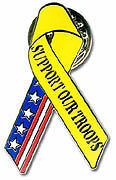 "Pin for ""Support Our Troops"" ribbon (yellow and flag)"