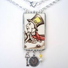 Mad Hatter Necklace Broken China Jewelry Vintage Alice in Wonderland Pendant