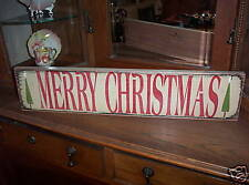 MERRY CHRISTMAS w/xmas trees  wood sign primitive