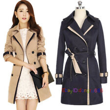 Trendy Ladies Women Double Breasted Belt Trench Coat Long Parka Outwear Mac