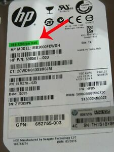 "HP HPE Gen8 G8 G9 3TB 7.2K SAS 6G 3.5"" HARD DRIVE 652755-003 698695 695507-004"