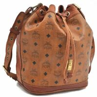 Authentic MCM Cognac Visetos Leather Vintage Shoulder Bag Brown  A7812