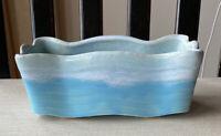 VINTAGE MCCOY USA POTTERY PLANTER BLUE OMBRE WAVE GLAZE MARKED