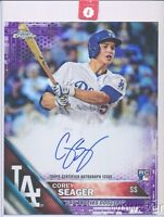 2016 Topps Chrome Corey Seager AUTOGRAPH JUMBO RC PURPLE REFRACTOR #5/10 Jersey#