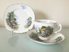 Vintage Royal Vale Country Cottage Garden Trio : Cup, Saucer & Side Plate    VGC