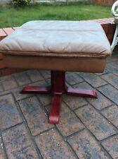 Modern Footstool ,beige Leather , Mahogany Legs