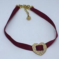 Swarovski Crystal Gold Heart Necklace Burgundy Stretch Ribbon Choker Swan Mark