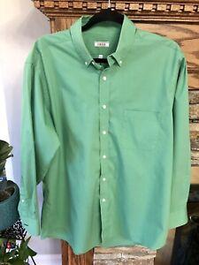 Izod Kelly Green Button Down Shirt Long Men Classic Fit Stretch 16 -16 1/2 32/33