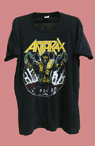 VINTAGE 80's ANTHRAX JUDGE DREDD ROCK THRASH METAL TOUR T SHIRT.FREE SHIPPING
