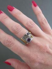 Vintage Modernist Silver Amethyst Ring