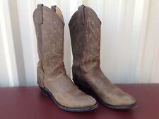 OLD WEST Mens Size 9.5 D Brown Leather Cowboy Boots~WESTERN