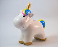Set 2x Spardose EINHORN Keramik Sparbüchse Fantasy Deko Geschenk Figur Unicorn
