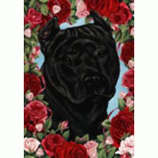 Roses House Flag - Black American Pit Bull Terrier 19407