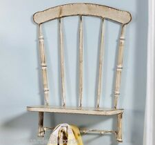 """19.8"""" Distressed Look White Metal Chair Design Wall Decor - 4-Hooks and Shelf"""