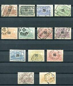 1895.BELGICA.BELGIQUE.PAQUETE Postal.yvert 15/27 (Or) Usado.catalogo