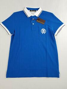 new Roberto Cavalli men polo woven shirt FST642 A#207 blue cotton logo sz S $325